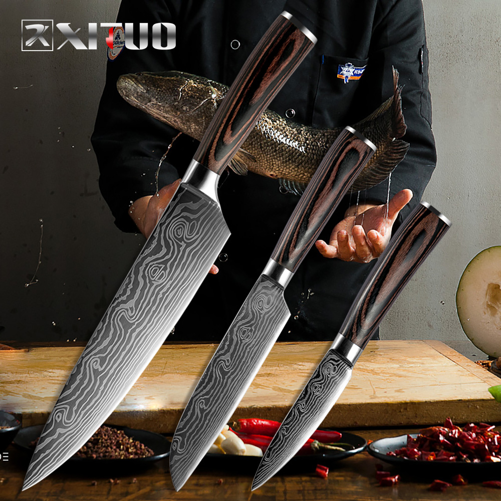 "XITUO  8""5""3.5"" Japanese chef knife set 3 pcs Damascus steel Pattern kitchen knives sets Cleaver Paring Santoku Slicing utility"