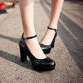 Mulheres praça de alta sapatos de salto plataforma sexy bombas de damasco preto sapatos de tamanho grande