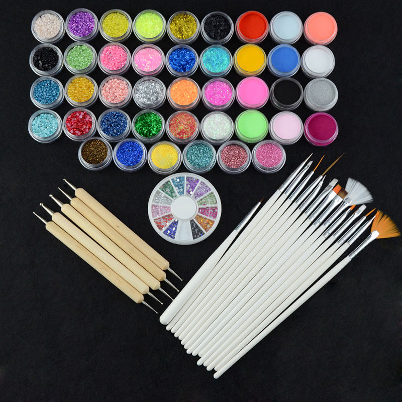 42 Mix Colors Acrylic Glitter Powder Builder Sculpture Powders Pearls + 20pcs Brush Pen Nail Art Tips Decor Kit Manicure Set
