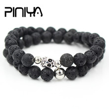 fashion natural 8mm black lava stone bead Double Layer Bead Bracelet men women antique silver color skull charm elastic