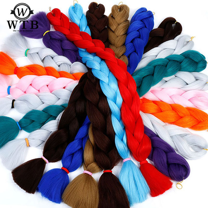 Hot Sale Wtb Braiding Hair 82 Inch Pure Color Synthetic Kanekalon