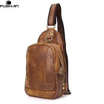 Vintage 100% Натуральная Кожа мужчины сумки Дорожные Езда Сумка сумки На Ремне Креста Тела Слинг Груди Пакет Случайный Новый