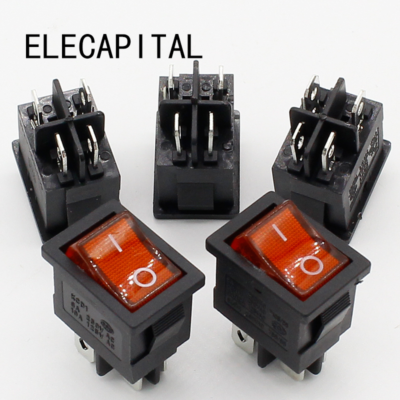 5pcs/lot 15*21mm LED Light SPST 4PIN ON/OFF G121 Boat Rocker Switch 6A/250V 10A/125V Car Dash Dashboard Truck RV ATV Home 5 pcs ac 6a 250v 10a 125v 3 pin black button on on round boat rocker switch