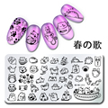 1Pc 12*6cm Nail Art Stamping Plates Cute Cat Design Nail Stamp Image Template Manicure Decoration Stencils Harunouta L015