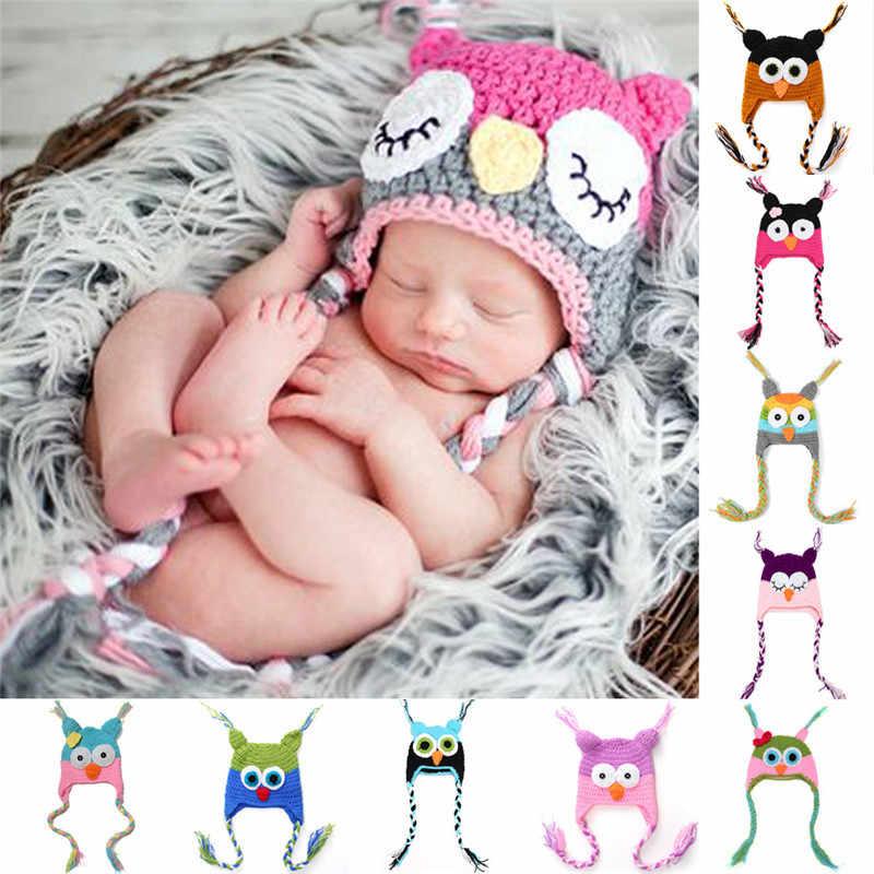 Kartun Bayi Musim Dingin Topi Buatan Tangan Rajutan Bayi Balita Bayi Burung Hantu Topi Anak Topi untuk Anak Laki-laki dan Perempuan Yang Baru Lahir Fotografi Prop