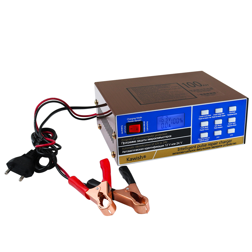 New!!Full Automatic Car Battery Charger Intelligent Pulse Repair Battery Charger 12V/24V Truck Motorcycle Charger  110V/220V