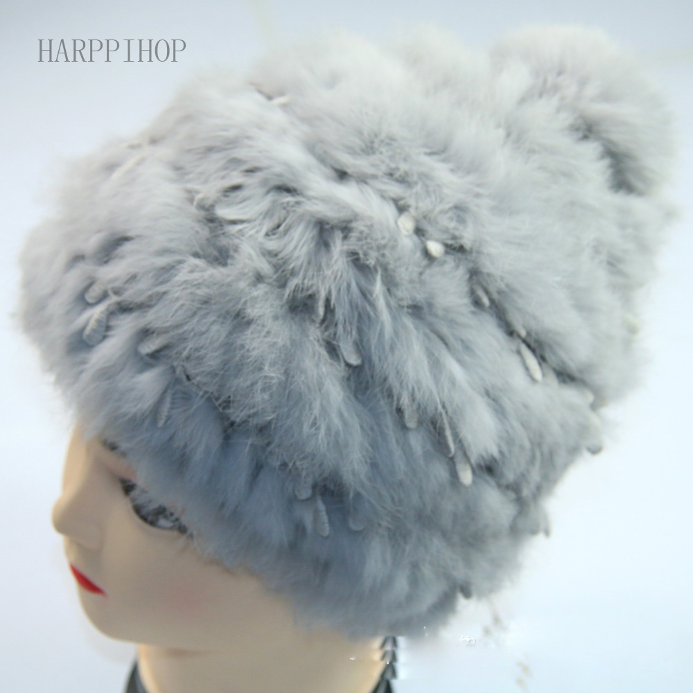 Winter hat female Korean tidal cute lace knitting wool cap autumn and winter fur hat Ms
