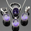 Oval Created Purple Amethyst Jewelry Sets For Women Silver Color Necklace Pendant Earrings Rings Christmas Free Gift Box