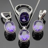 Oval Purple Amethyst Jewelry Sets For Women 925 Sterling Silver Necklace Pendant Earrings Rings Size 6