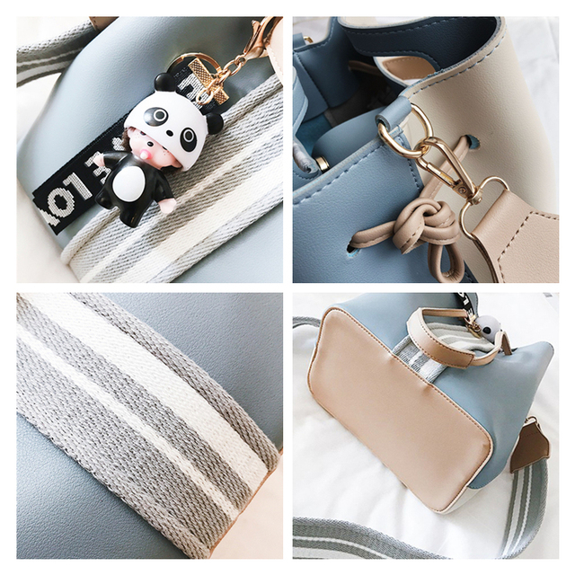Burminsa Cute Bucket Shoulder Bag Small Wide Guitar Strap Girl Designer Handbag High Quality PU Leather Women Messenger Bag 2019 5