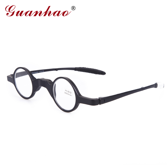 Guanhao Vintage Reading Glasses Foldable Men Women TR90 Frame Slim Ultralight Anti Fatigue Reading Eyeglasses 1.0 1.5 2.0 2.5