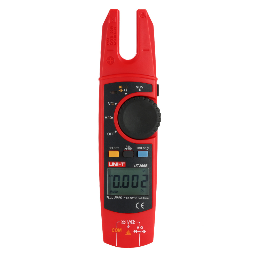 UNI-T UT256B True RMS Digital Fork Meter Clamp Multimeter DMM AC/DC Volotage Current Resistance Capacitance NCV Test Backlight uni t ut205 ture rms auto manual range digital handheld clamp meter multimeter ac dc voltage aca test tool