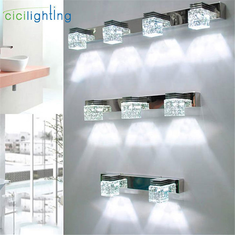 LED Wall Lamp Crystal Mirror Front Light Bathroom Makeup Wall Lights Modern Bedroom Living Room Wall Sconces Lighting Fixture