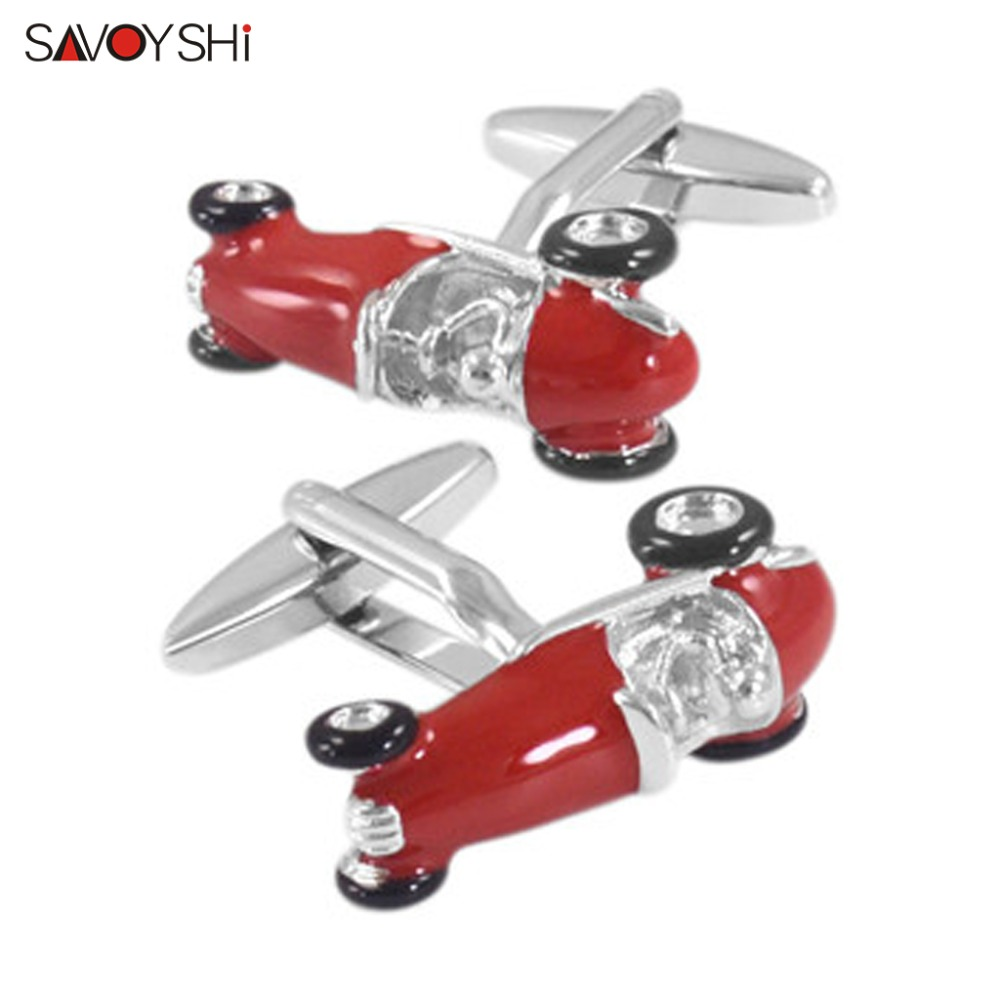 SAVOYSHI Fashion Racing Model Cufflinks For Mens Shirt Cuffs High Quality Novelty Red Black Car Cuff Links Brand Jewelry Gift