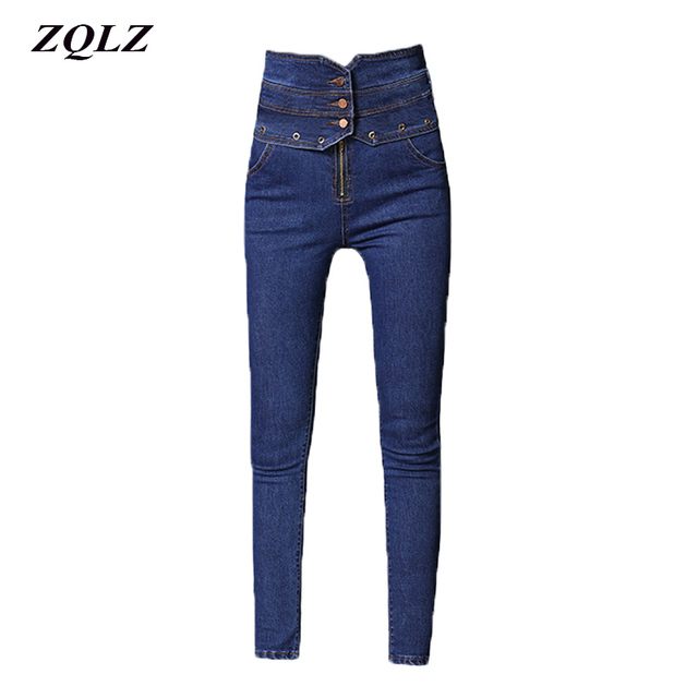 ZQLZ Plus Size S-5XL High Waist Black Jeans Woman Stretch Skinny Ture Denim Pants Washed Ruched Button Autumn Trousers Mujer