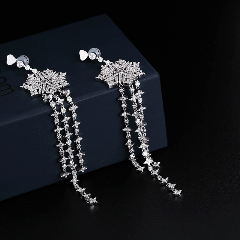 UMGODLY Luxury Brand Harmonie Snowflake Star Long Tassel Drop Earrings Full CZ Zircon Women Luxury Brand Wedding Jewelry