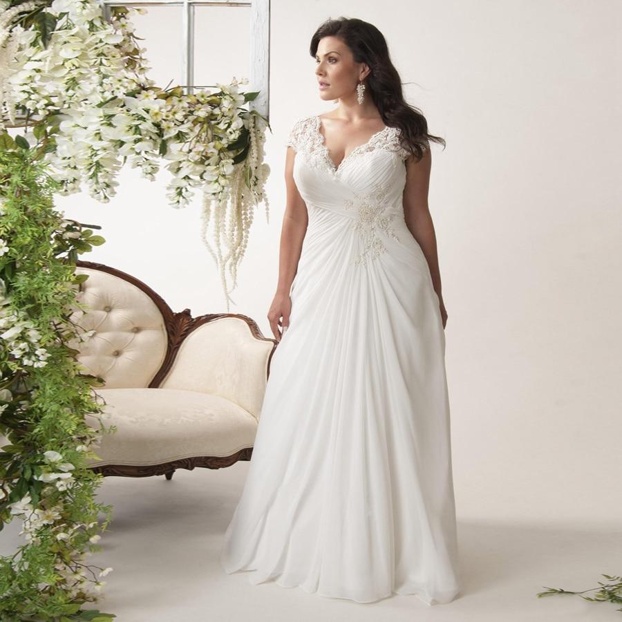 V neck Cap Sleeves Plus Size Wedding Dresses Chiffon Appliqued Lace Open Back Drape Side Ruched