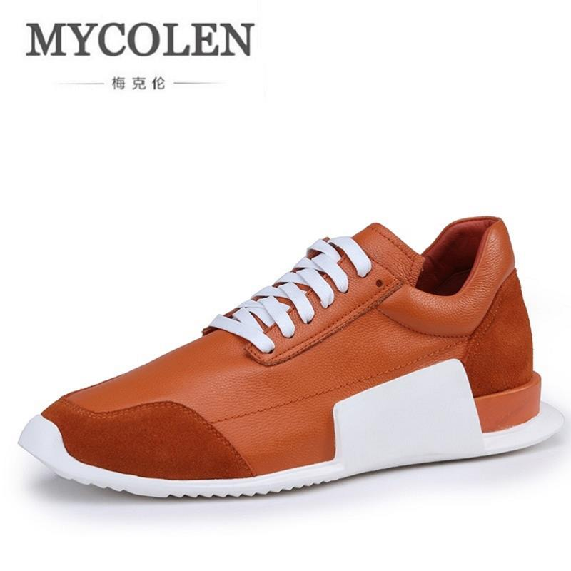 MYCOLEN New Casual Men Footwear Fashion Sport Flats Leather Shoes Mens Cow Leather Shoes Black White Autumn Winter Walking Shoes 2016 new autumn winter man casual shoes sport male leisure chaussure laced up basket shoes for adults black