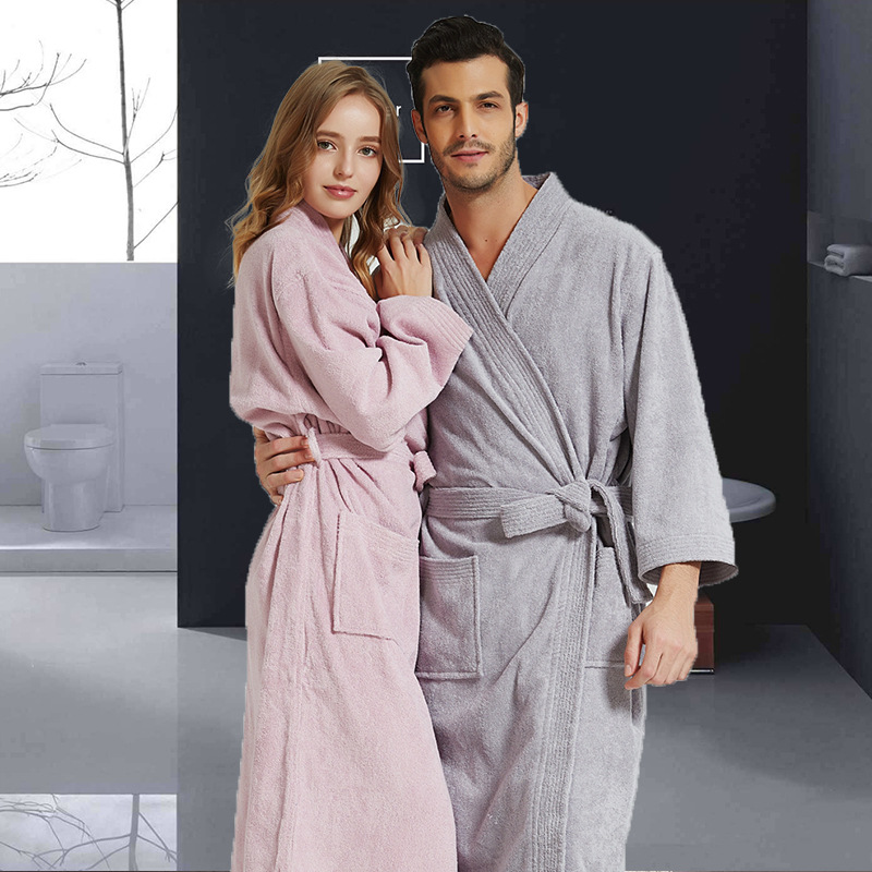 Japanese Men Women Cotton Towel/Terry Bathrobe Spring Autumn Long Thick Long Bath Robe Male Dressing Gown Kimono