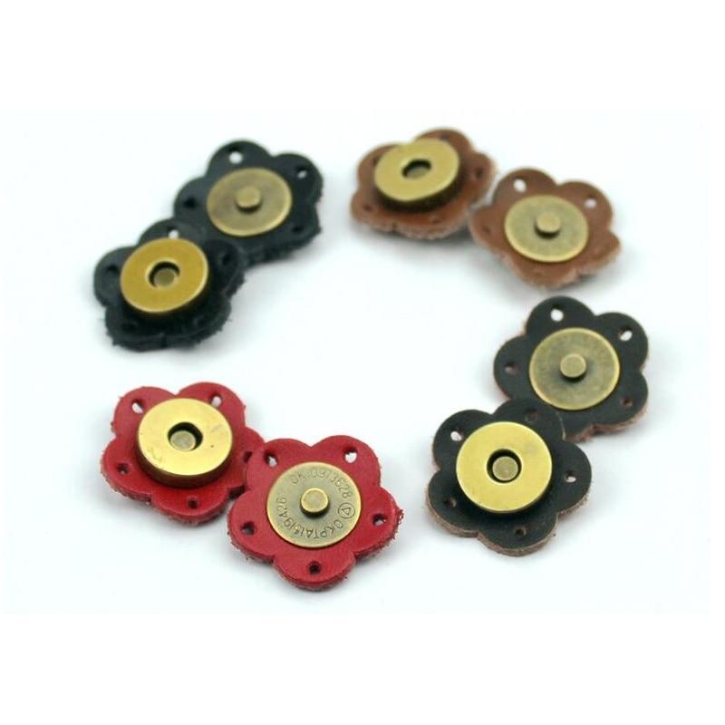 5PCS Bag Magic Buttons Leather  Buckle 2.6*2.6cm Flower Handmade Wallet Card Pack Buckles for DIY Handbag Accessories