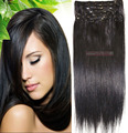 """16 """"-32'' 10 pcs Set 100% Remy Brasileiro Grampo de Cabelo Em/no Humano Extensões de cabelo # 1b Natural Preto 120g 140g 160g 180g 200g 220g"""