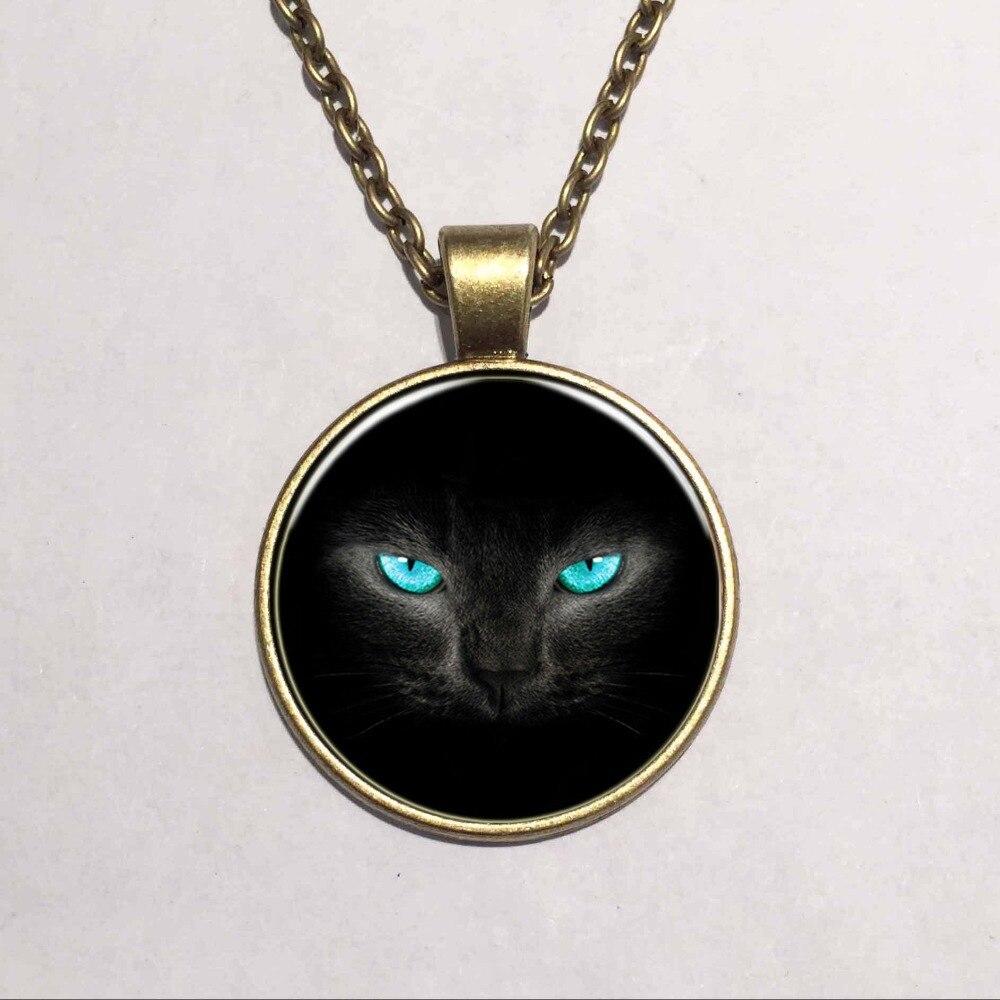 ჱRetail azul ojos de gato negro del vidrio arte ronda collares ...