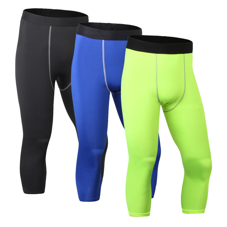 Mens tights, PRO seven point pants, sports fitness, running shorts, sweat, quick dry, 7 pants, 1050