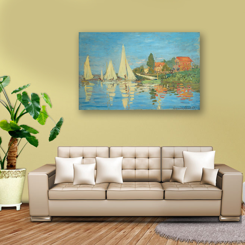 Frameless Monet Sailboat Oil Painting Home Decor Print Painting On ...