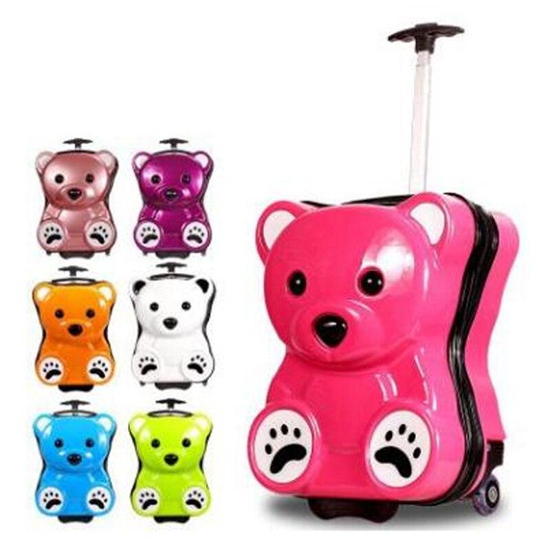 Suitcase Trolley-Bag Wheels Travel Girls Children Cartoon Cute Bear-Style Kid's