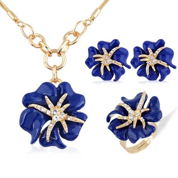 Moda europeus e Americanos 3 p Ouro Big Rose Conjuntos de Jóias de Strass Esmalte Conjunto de jóias Finas para mulheres Acessórios charme