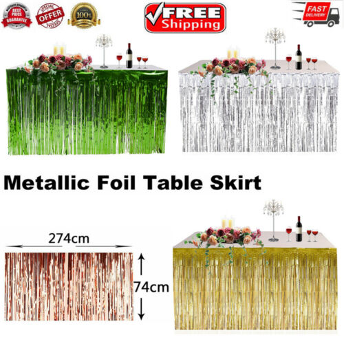 274 X 74CM Party Metallic Fringe Table Skirt Foil Tinsel Many Tulle Tutu Tableware Wedding Decoration Baby Shower Party Table