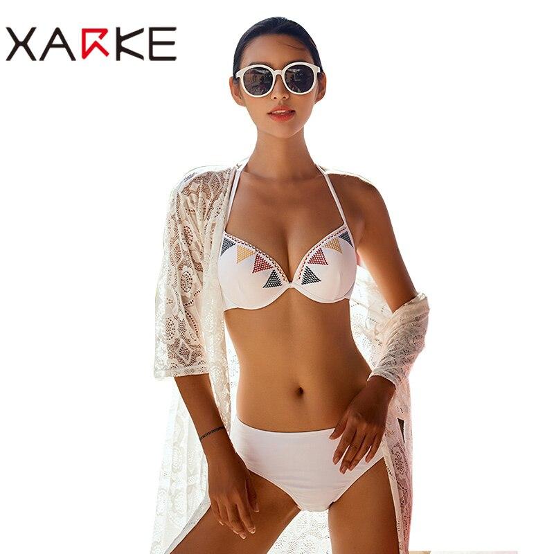 XARKE Sexy Bikini Set Swimwear Women Swimsuit Push Up 2018 Womens Bikini Halter Top Bathing Suit Beachwear Biquini swimming suit