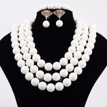 Africain De Mariage Blanc Corail Perles Big Round Perle 3 couches Bijoux Ensemble de Bijoux de Costume Africain Ensembles