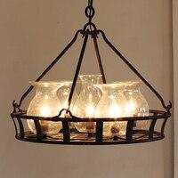 Amerikan Vintage Cam Şişe Sepeti Kolye Işık Fikstürü Retro Droplight Ev iç mekan aydınlatması Fuaye Yemek Odası Kolye Lamba
