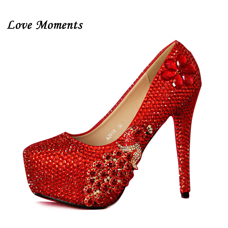 Love Moments Red crystal woman ultra thin high heels wedding shoes shallow mouth round toe wedding