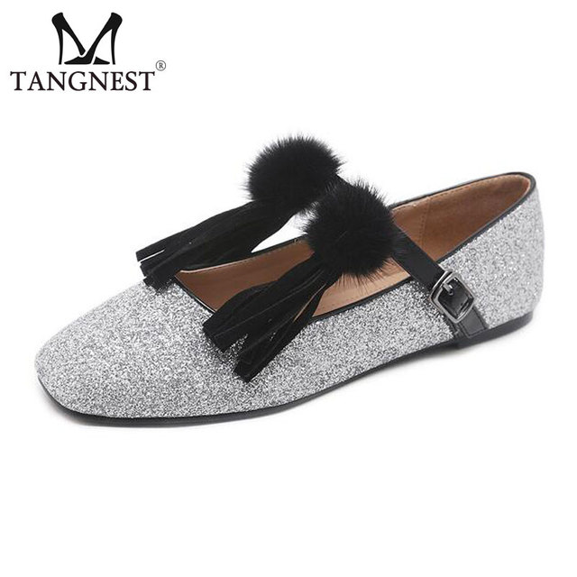 Tangnest Luxury Glitter Women s Ballet Flats Fashion Fringe Buckle Strap Flat  Shoes For Women Fur Pom Pom Shallow Shoes 02dfb26729dd