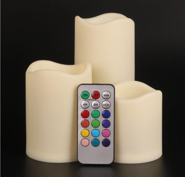 3 pcs/set Colorful Remote Control LED Candle Romantic Wireless Wedding Candle Lamp Home Party Decorative Candle Light