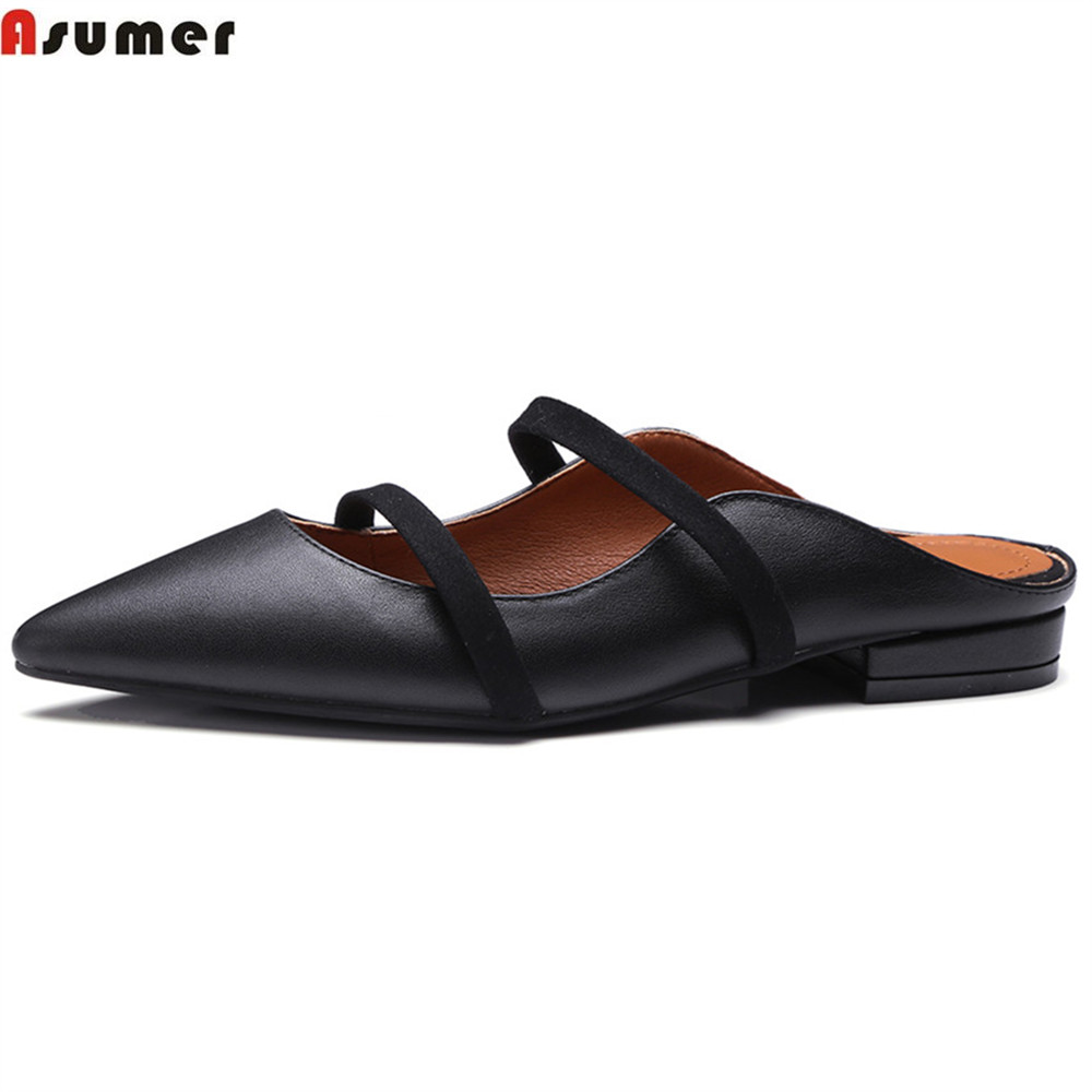 где купить Asumer black white fashion spring autumn ladies flat shoes pointed toe casual mules shoes women genuine leather slippers по лучшей цене