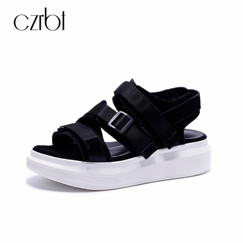 CZRBT Street Fashion Sandals Women Genuine Leather Backpack Buckle Comfortable Platform Sandals Woman Summer Casual Beach Shoes xiuningyan women sandals 2018 new fashion casual shoes comfortable wedges sandals platform genuine leather woman summer shoes