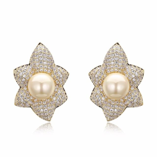 Simulated Grey Pearl Stud Earrings For Women Lead Free Setting With Cubic Zirconia Stone Wedding