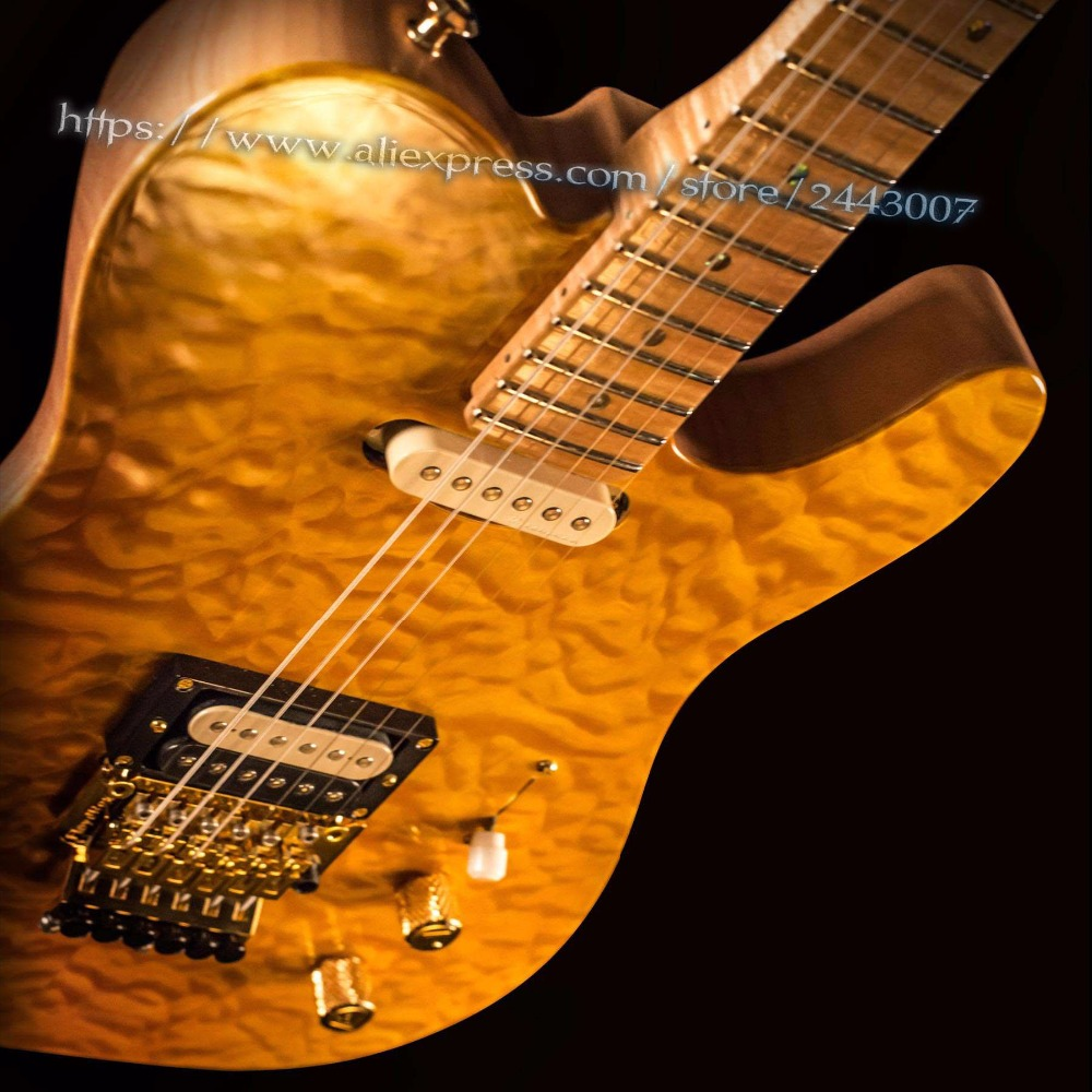GC Masterbuilt John Cruz Yellow Amber Quilt Maple Top With 3A Figured Maple Neck Tl w/ Floyd Electric Guitar