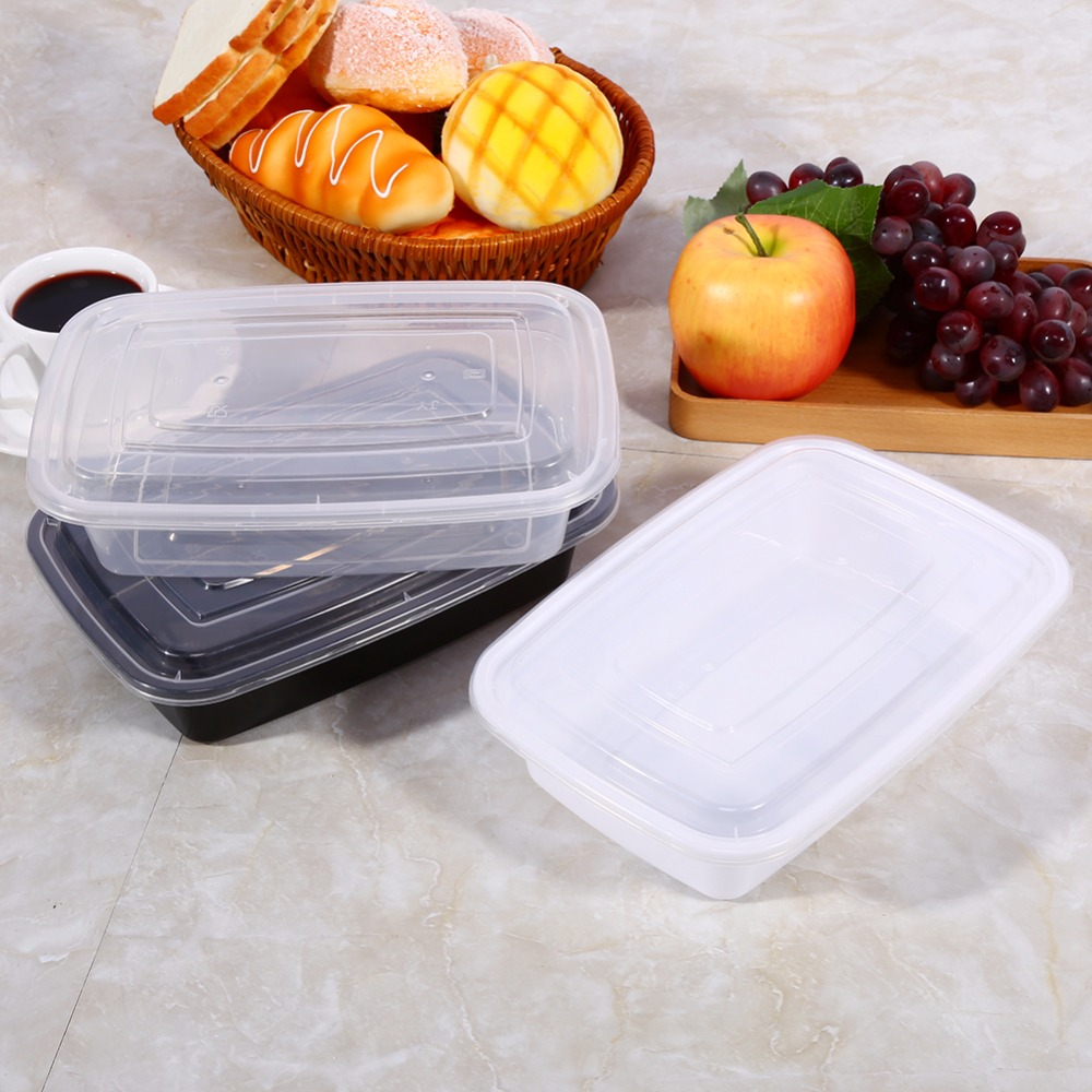 disposable 10pcs lot 1000ml meal prep containers durable bpa free plastic food storage container. Black Bedroom Furniture Sets. Home Design Ideas