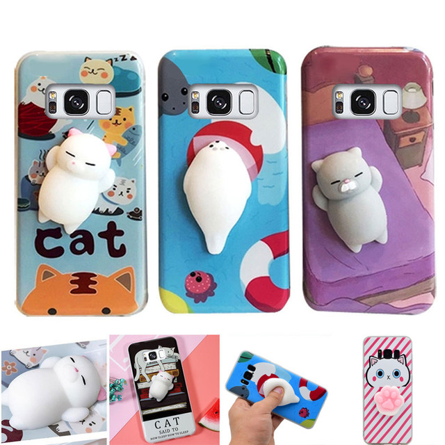 meet 10efd cb161 US $3.49 30% OFF|3D Cute Squishy Lazy Cat Panda Case For Samsung Galaxy S8  Plus S7 Edge Soft Silicone Cartoon Squeeze Pressure Reduce Phone Cover-in  ...