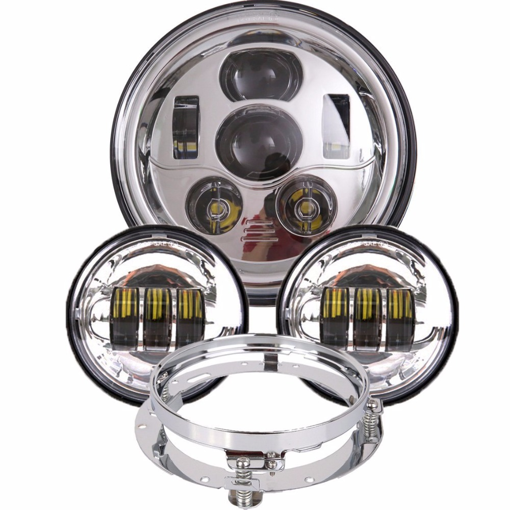 DOT 7 inch LED Headlight Daymaker 4.5 inch Fog Light 7 Bracket Ring For Harley Davidson Classic Electra Glide Street Glide 7 inch led headlight motorbike suit 7headlight monting ring fog lights for harley davidson electra glide road king street glide