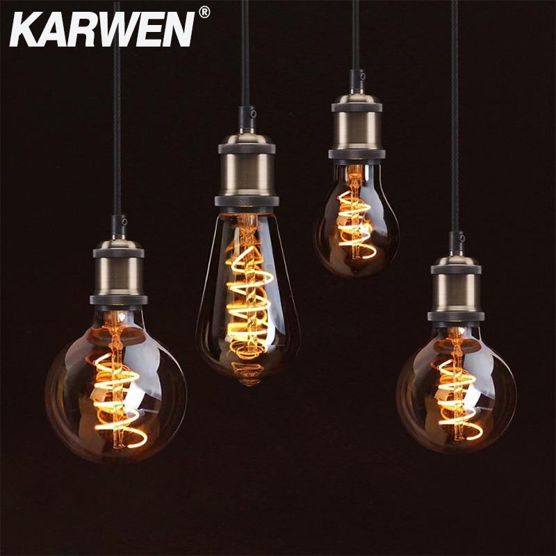 KARWEN LED Filament Edison Bulb Decorative 3D Vintage Edison Lamp E27 220V T10 T45 A60 ST64 G80 G95 Replace Incandescent Bulb
