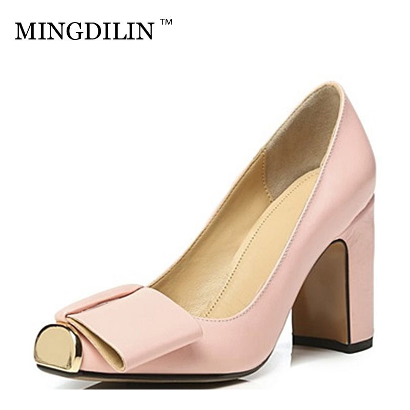 MINGDILIN Square Head Genuine Leather Coarse Heel Women Party Fashion Shoes Metal Decoration Four Seasons High Heel Plus Size цена