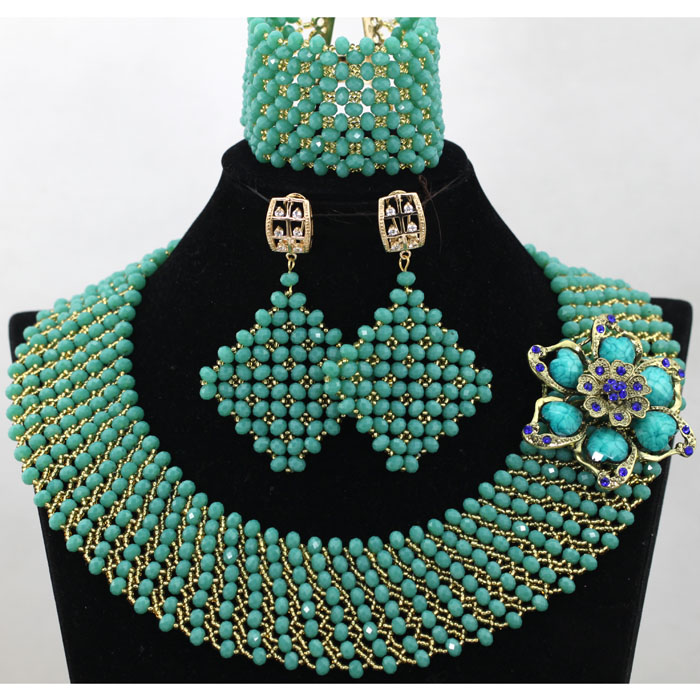 Generous Green Crystal African Beads Jewelry Set Bridal Statement Necklace Set Dubai Chunky Jewelry Set QW205Generous Green Crystal African Beads Jewelry Set Bridal Statement Necklace Set Dubai Chunky Jewelry Set QW205