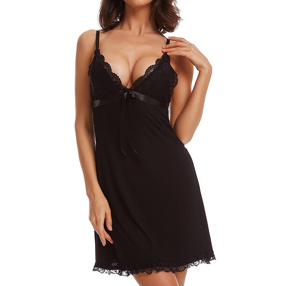 Women Sexy Nightwear Plus Size M-XXL Lace Nightgown Sleepwear Dress Sexy Lingerie Robe Sexy