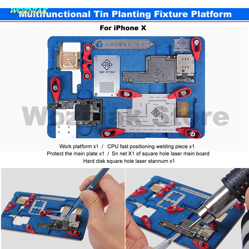 Wozniak Repair for Iphone X Main Board CPU A11 WIFI Baseband IC Remove Glue Cooling Protect tin Positioning Fixture Platform set