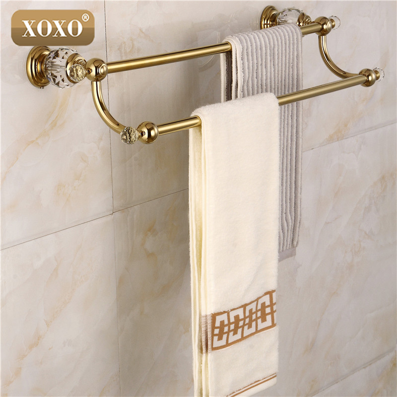 XOXOdouble Towel Bar,Towel Holder, Towel rack Solid Brass & Crystal Made Golden Finish 12024DGS free shipping solid brass made golden finish double towel bar towel holder towel rack bathroom accessories products og 27848c
